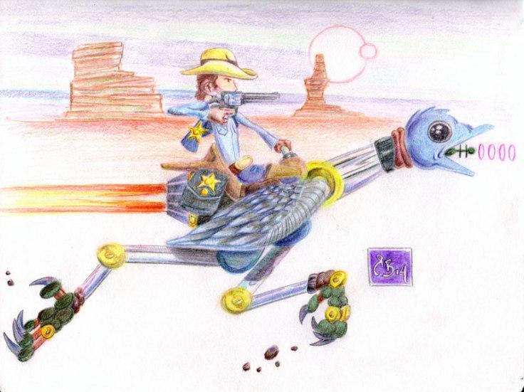Cowboy-riding-Ostrich