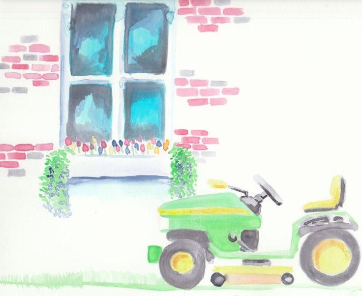Watercolor-lawn-mower